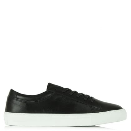 Jack & Jones Galaxy Black Leather Lace Up Trainer