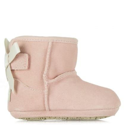 UGG® Australia Authorised Retailer Kids Jesse Pink Suede Satin Bow Boot