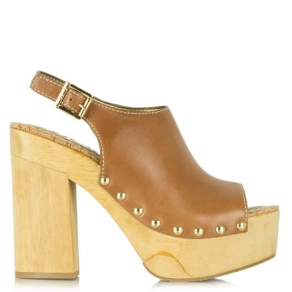 Sam Edelman Marley Tan Leather Wooden Platform Sandal