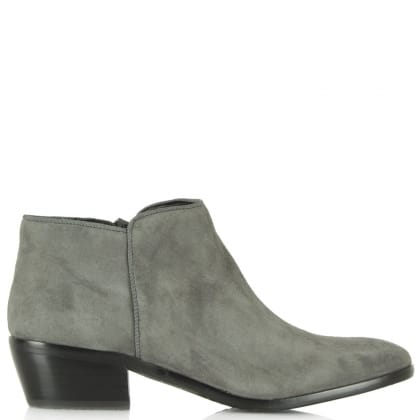 Sam Edelman Petty Grey Suede Low Heel Ankle Boot