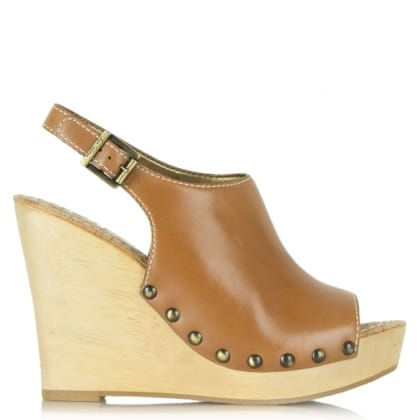 Sam Edelman Camilla Tan Leather Wedge Clog Sandal