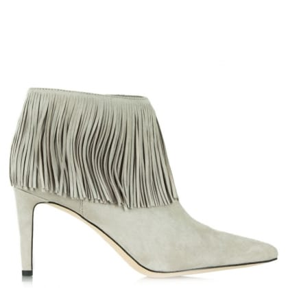 Sam Edelman Kandice Grey Suede Pointed Toe Fringed Ankle Boot