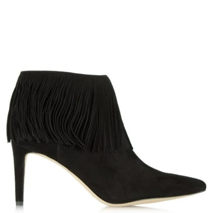 Sam Edelman Kandice Black Suede Pointed Toe Fringed Ankle Boot