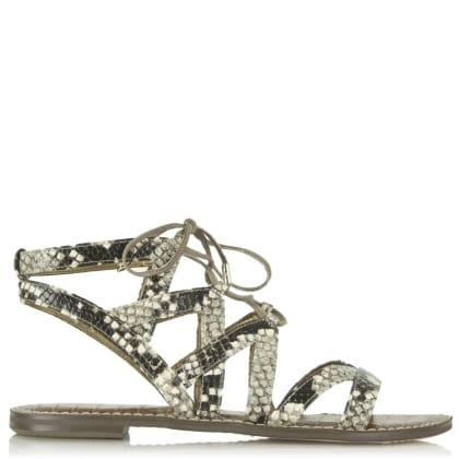 Sam Edelman Gemma Beige Leather Reptile Gladiator Sandal