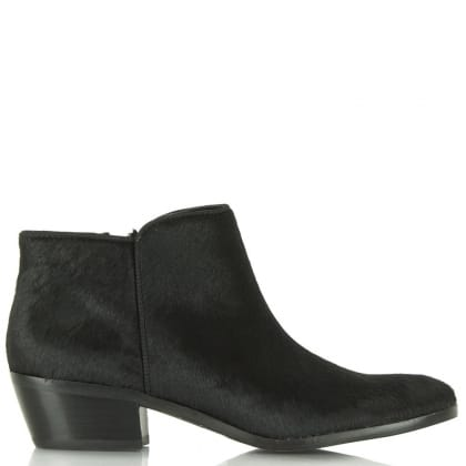 Sam Edelman Petty Black Calf Hair Low Heel Ankle Boot