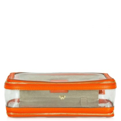 Anya Hindmarch Inflight Makeup Orange Leather Cosmetic Bag