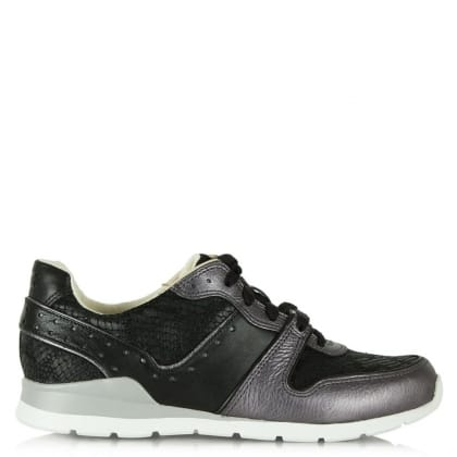UGG Australia Deaven Black Leather Lace Up Trainer