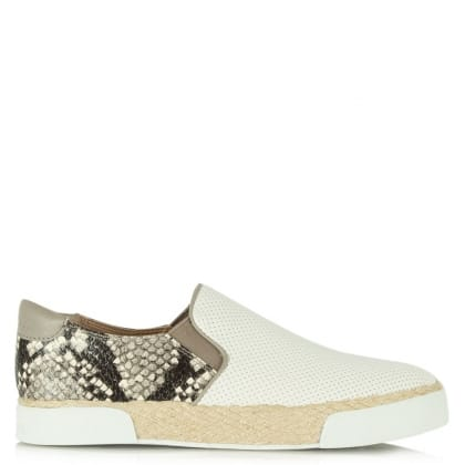 Sam Edelman Banks Beige Leather Reptile Sporty Espadrille Pump