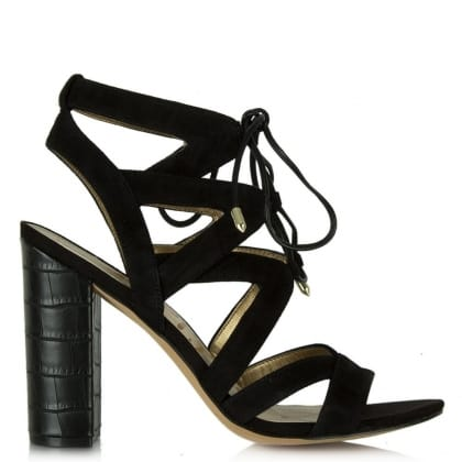 Sam Edelman Yardley Black Suede Block Heel Strappy Sandal