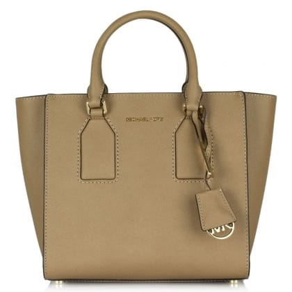 Michael Kors Selby Medium Beige Leather Satchel