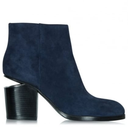 Alexander Wang Cut Out Block Heel Navy Suede Ankle Boot