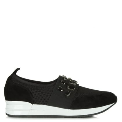 Daniel Crystal Black Suede Jewelled Slip On Trainer