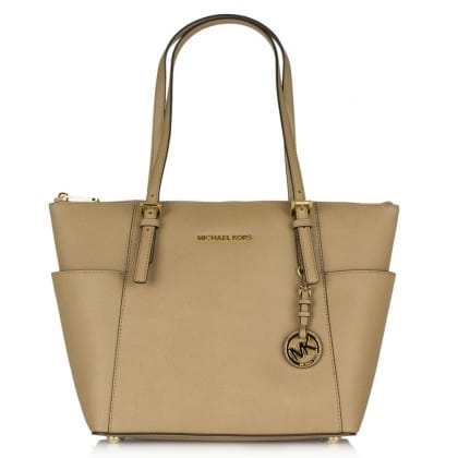 Michael Kors Beige Leather Jetset Multifunctional Travel Tote