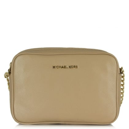 Michael Kors Bedford Chain Beige Leather Crossbody Bag