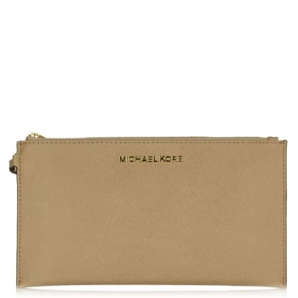 Michael Kors Beige Leather Large Jetset Zip Clutch