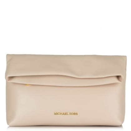 Michael Kors Pink Leather Daria Fold Over Clutch Bag