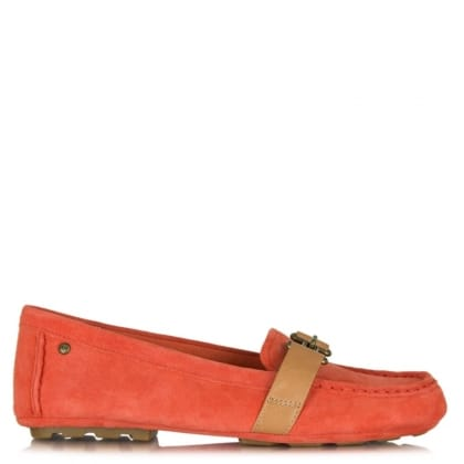 UGG Aven Hazard Orange Suede Driving Moccasin