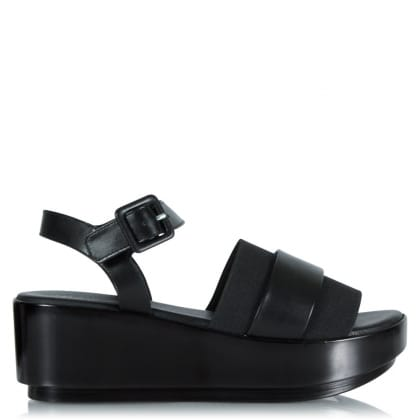 Robert Clergerie Podk Black Leather Flatform Sandal