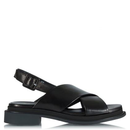 Robert Clergerie Calientek Black Leather Cross Front Sandal