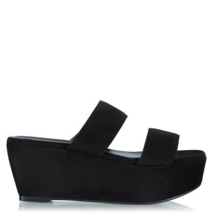 Robert Clergerie Frazziak Black Suede Wedge Sandal