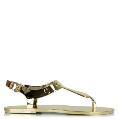 Michael Kors Plate Jelly Gold Metallic Sandal
