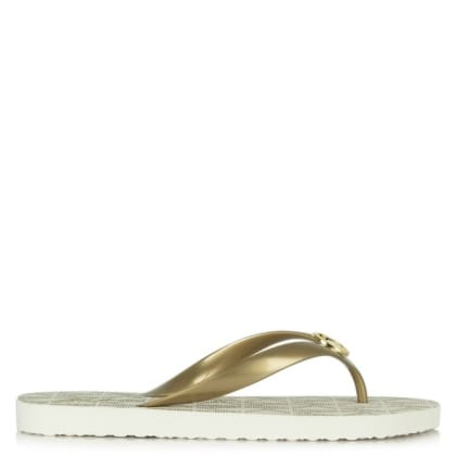 Michael Kors Gold Logo Foot-Bed Toe Post Flip Flop
