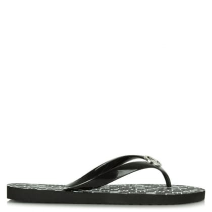 Michael Kors Black Logo Foot-Bed Toe Post Flip Flop