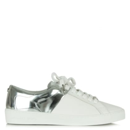 Michael Kors Toby Silver Leather Contrast Lace Up Trainer