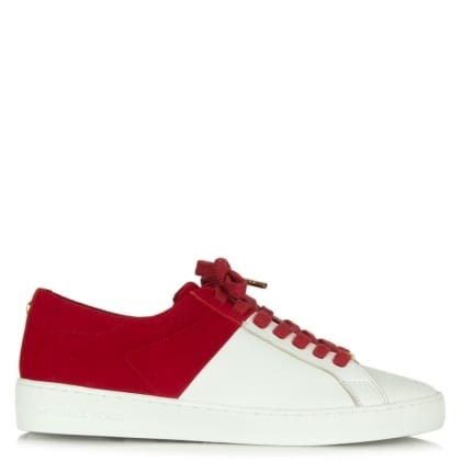 Michael Kors Toby Red Suede Contrast Lace Up Trainer