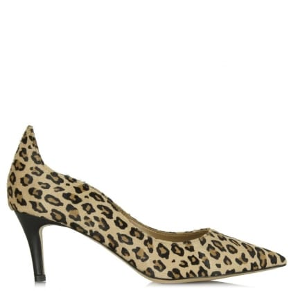 Daniel Manzano Leopard Calf Hair Low Heel Court Shoe