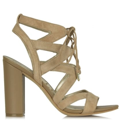 Sam Edelman Yardley Golden Caramel Suede Block Heel Strappy Sandal