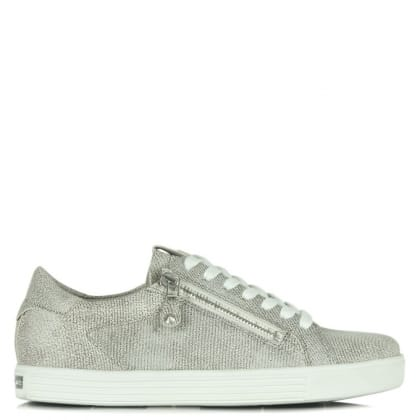 Kennel & Schmenger Towner Sliver Metallic Leather Lace Up Trainer
