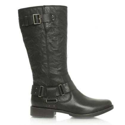 UGG® Australia Authorised Retailer Damien Black Leather Knee High Biker Boot