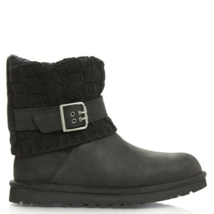 UGG® Australia Authorised Retailer Cassidee Black Suede Cotton Cable Knit Collar Ankle Boot