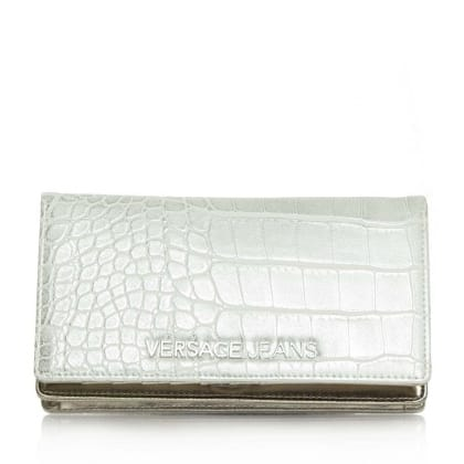 Versace Jeans Charlize Taupe Fold Over Moc Croc Cross-Body Bag
