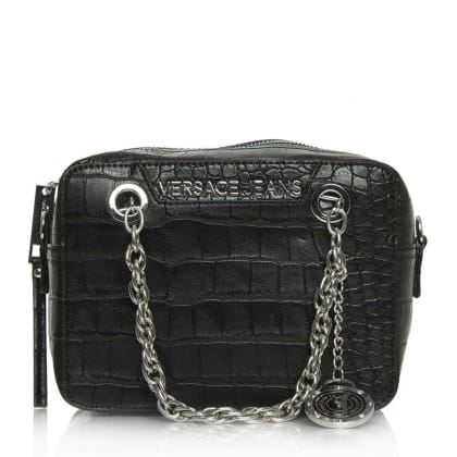 Versace Jeans Kate Black Moc Croc Box Cross-Body Bag