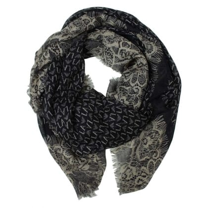 Armani Jeans Nicole Navy Logo & Lace Print Scarf