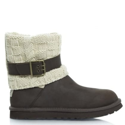 UGG® Australia Authorised Retailer Cassidee Chocolate Suede Cotton Cable Knit Collar Ankle Boot