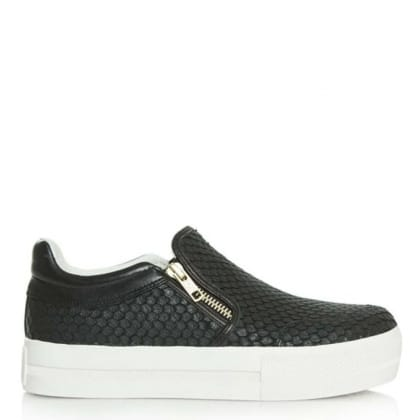 Ash Jordy Black Leather Reptile Chunky Sole Trainer