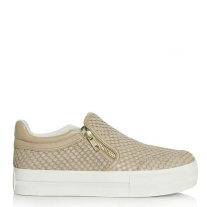 Ash Jordy Taupe Leather Reptile Chunky Sole Trainer