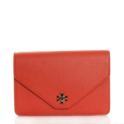 Tory Burch Kira Poppy Red Leather Clutch Bag