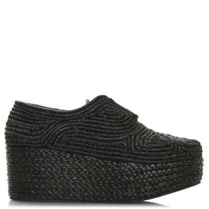 Robert Clergerie Apinto Black Raffia Flatform Lace Up Shoe