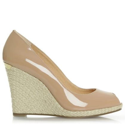 Michael Kors Keegan Patent Dark Nude Leather Peep Toe Wedge Shoe