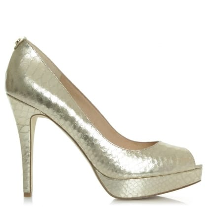 Michael Kors York Platform Gold Leather Reptile Platform Shoe