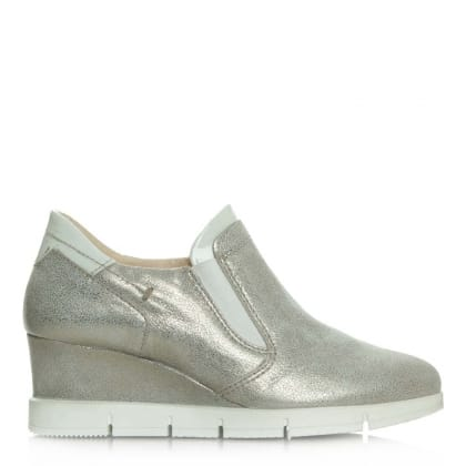 Daniel South Dakota Taupe Metallic Sporty Wedge Trainer