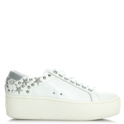 Ash White Leather Cyber Platform Trainer