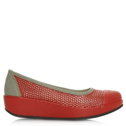 Fly London Bang Red Leather Low Wedge Pump