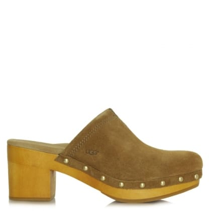 UGG Kay Tan Suede V Notch Clog Mule