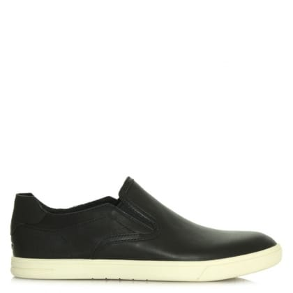 UGG Australia Tobin Black Leather Slip On Trainer