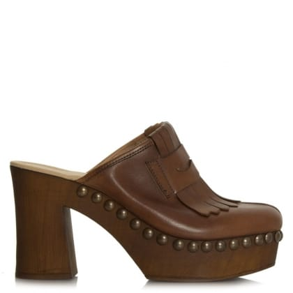 Daniel Newark Tan Leather Fringed Clog